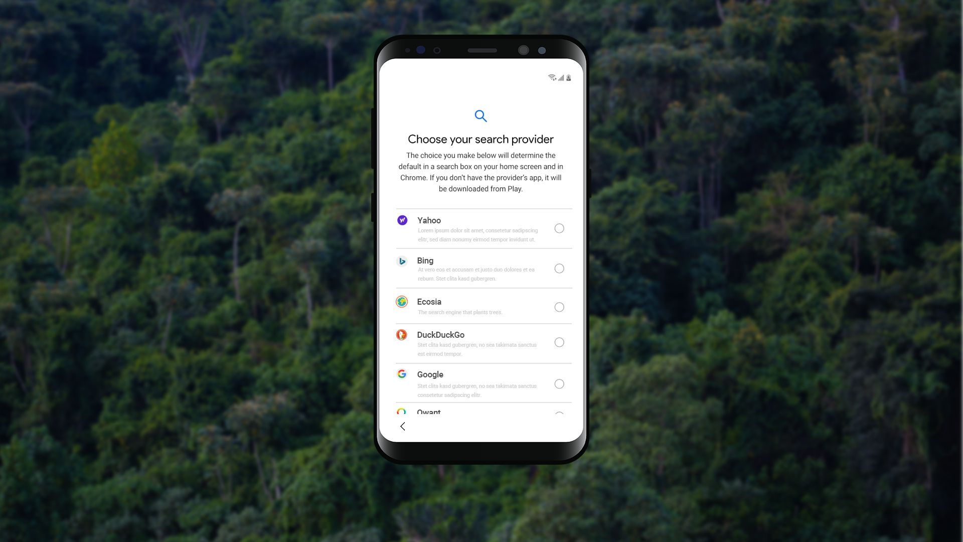 Ecosia's suggestion for Android's choice screen